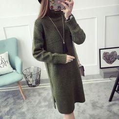 Qimi - 長袖厚針織連衣長裙