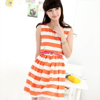 59 Seconds - Striped Sleeveless Dress (Belt not Included)