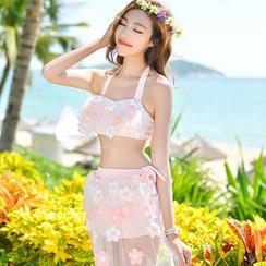 Blue Lagoon - Set: Floral Mesh Bikini + Cover-Up