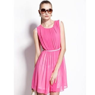 Moonbasa - Sleeveless Pleated Chiffon Dress