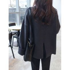 hellopeco - Turtle-Neck Slit-Back Knit Top