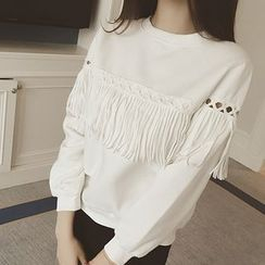 Lovebirds - Fringe-Trim Paneled Pullover