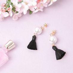 Cherryville - Faux-Pearl Tassel Dangle Earrings