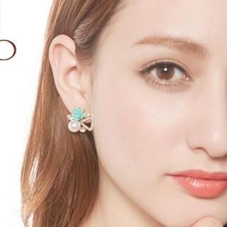 Tokyo Fashion - Faux-Pearl Rhinestone Flower Stud Earrings