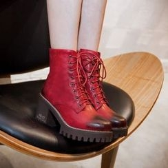 JY Shoes - Block Heel Lace-Up Short Boots
