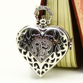 Miss Girl - Heart-Shaped Rhinestone Pocket Watch