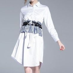 Seagrass - Long-Sleeve Ruffle Shirtdress