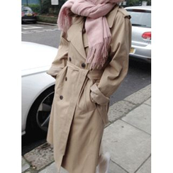 maybe-baby - Double-Breasted Notched-Lapel Trench Coat With Sash