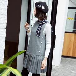 Dimosqisi - Pleated Sleeveless Tank Dress