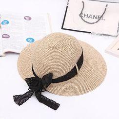 Eva Fashion - Lace Trim Straw Hat