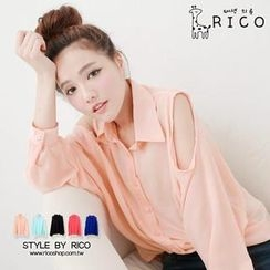 rico - Cutout-Shoulder Chiffon Shirt