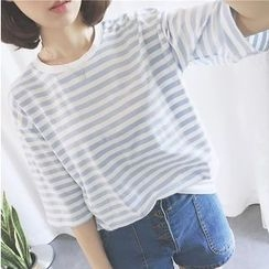 OCTALE - Elbow-Sleeve Striped T-Shirt