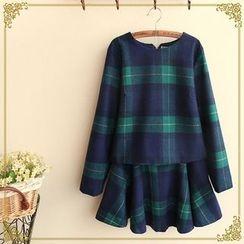 Fairyland - Set: Long-Sleeve Plaid Top + A-Line Skirt