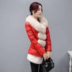 Romantica - Furry-Trim Faux-Leather Padded Coat