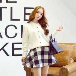 AC - Set: Knit Cardigan + Plaid A-Line Skirt
