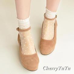 櫻桃兔兔 - 圓點薄紗襪