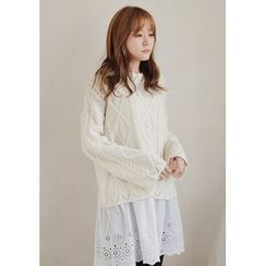 GOROKE - Scallop-Edge Cable-Knit Sweater