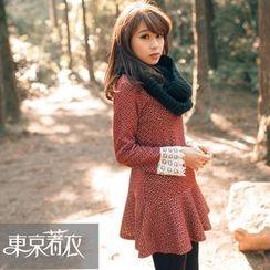 Tokyo Fashion - Long-Sleeve Crochet-Trim Patterned Dress