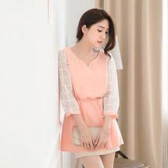 Tokyo Fashion - Mesh-Sleeve Tie-Back Top