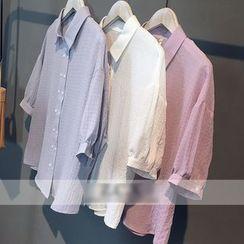 芷蓯夕 - 中長燈籠袖襯衣