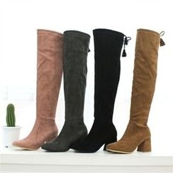 GLAM12 - Tassel-Trim Faux-Suede Knee-High Boots