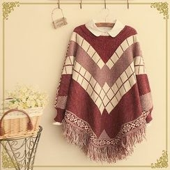 Angel Love - Fringe Hem Patterned Sweater