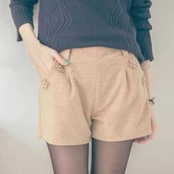 Tokyo Fashion - Beaded Flower-Appliqué Shorts