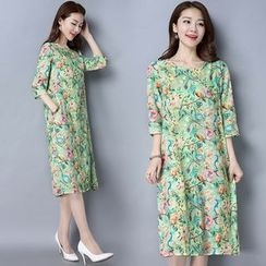 Diosa - Floral Print 3/4-Sleeve Dress
