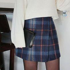 Seoul Fashion - Zip-Back Plaid A-Line Mini Skirt