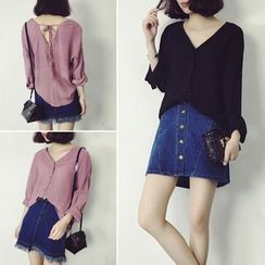 Bloombloom - Plain V-Neck Chiffon Blouse