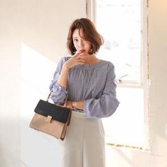 Seoul Fashion - Collarless Smocked-Detail Stripe Shirt