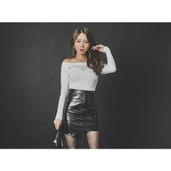 UUZONE - Asymmetric-Hem Patent Mini Skirt