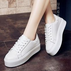 ZOHOUR - Platform Plain Genuine Leather Sneakers