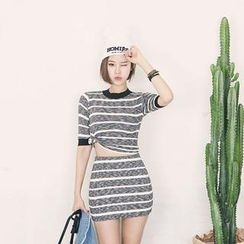 DABAGIRL - Set: Contrast-Trim Stripe Top + Stripe Mini Skirt