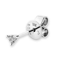 MBLife.com - 18K White Gold Martini Three Prong Diamond Solitaire Stud Single Earring (0.05ct)