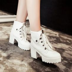 Shoes Galore - Lace Up Chunky Heel Ankle Boots