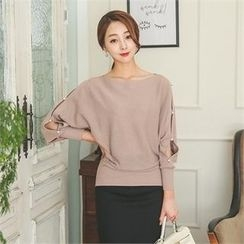 ode' - Slit-Sleeve Faux-Pearl Trim Knit Top