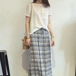 Jolly Club - Patterned Chiffon Long Skirt