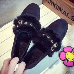 Micha - Buckled Fluffy Trim Loafers