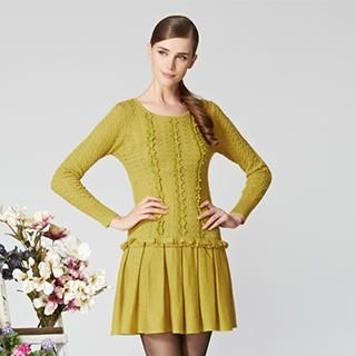 O.SA - Wool-Blend Crochet-Panel Pleated Knit Dress