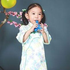 Lotus Seed - Kids Long-Sleeve Patterned Cheongsam