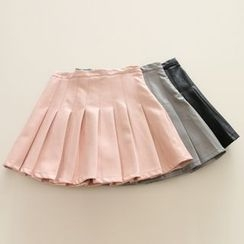Jelly Cake - Faux-Leather Pleated Skirt