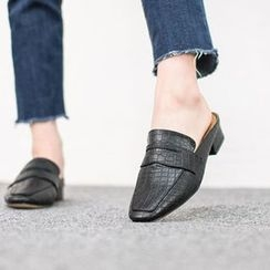 VIVIER - Faux- Leather Croc-Grain Mules