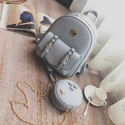 Shogun - Set: Faux Leather Floral Backpack + Shoulder Bag