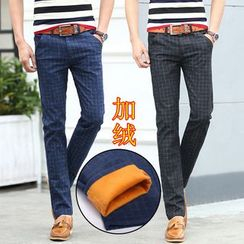 Denimic - Fleece Lined Check Straight-Leg Pants