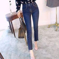 chuu - Cutout-Hem Slim-Fit Jeans