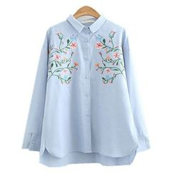 ninna nanna - Floral Embroidered Long-Sleeve Shirt