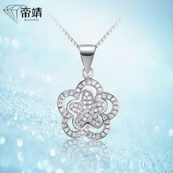 DIJING - Rhinestone Floral Pendant Necklace