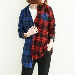 GLAM12 - Color-Block Plaid Shirt