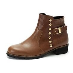 MODELSIS - Studded Genuine Leather Ankle Boots